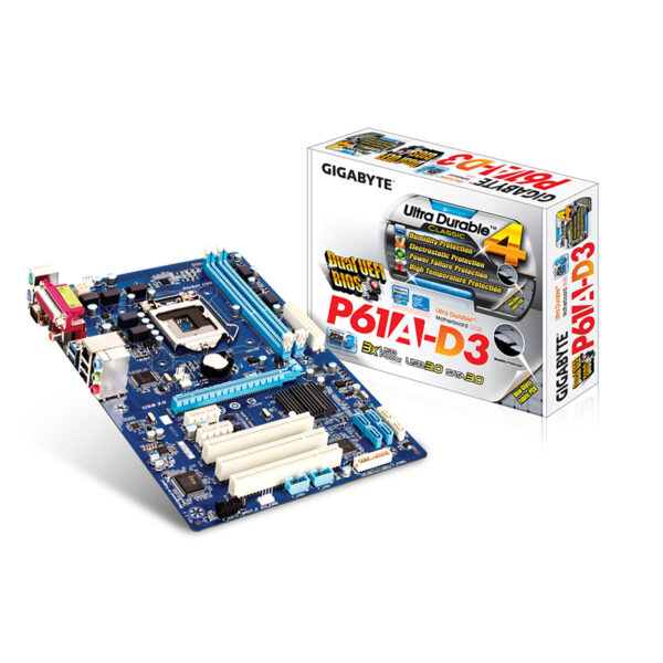 مادربرد گیگابایت GIGABYTE GA-P61A-D3 + پردازنده اینتل Intel Core i3 3220